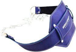 Пояс кожаный с цепью (профи) ONHILLSPORT, 100 см, синий