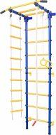 Шведская стенка детская №2 с фиксированным турником, лестницей, канатом, кольцами, синяя