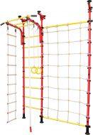 Шведская стенка детская в распор №5 с съемным турником, лестницей, канатом, кольцами и сеткой, красная