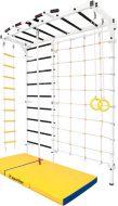Шведская стенка Рукоход №14 с лестницей, канатом, кольцами и матом, белая