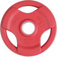 Диск SATURN, чугун, резина, стальная втулка, 51 мм, 5кг., красный