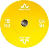 Диск Iron King для crossfit, резина, стальная втулка, 51 мм, 15кг., желтый